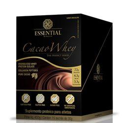 Cacao-Whey-Hidrolisado-e-Isolado-Sache---Essential---Caixa-c-15-de-30g-Cacao-Whey-Essential-Nutrition