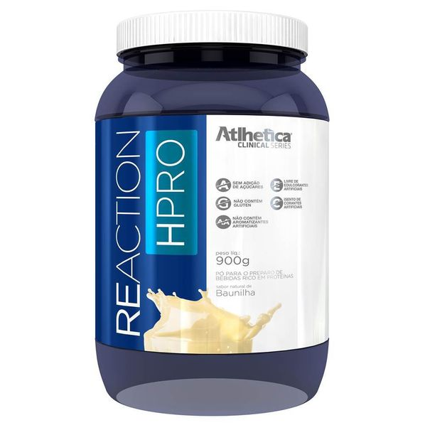 Reaction-HPro-Isolado-e-Hidrolisado---900g---Atlhetica-Nutrition-Atlhetica-Clinical-Series-Reaction-Hpro-900g---Baunilha